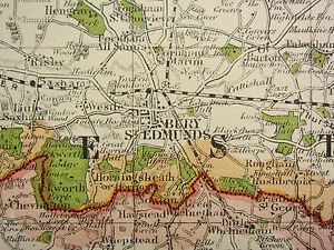 1920 COUNTY MAP of SUFFOLK IPSWICH BURY ST EDMUNDS SUDBURY