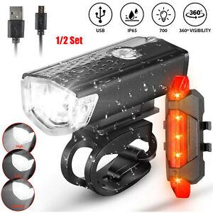 Conjunto de 1/2 USB Recargable LED Lámpara para Bici Delantero Trasero Para Bicicleta Faro Ciclismo Usa