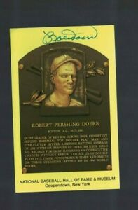 Bobby Doerr Boston Red Sox Signed Gold HOF Plaque Postcard W/Our COA H