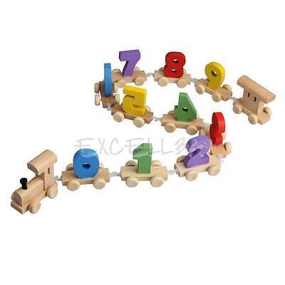 Kids Baby Infant Developmental Toys Wooden Train Truck Digital Blocks Xmas Gift