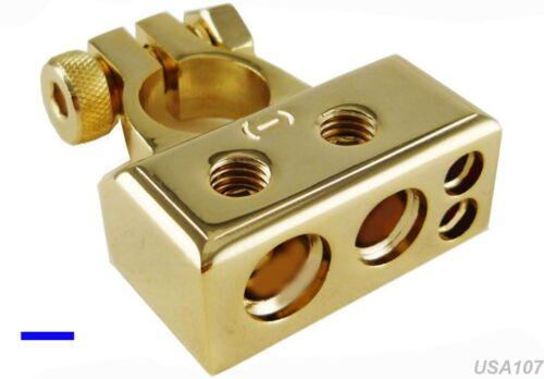 12VOLT US SELLER NEW GOLD NEGATIVE BATTERY TERMINAL CONNECTOR 0-4-8 GAUGE AWG N