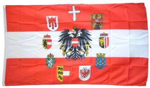 Drapeau Autriche avec aigle et armoiries des 9 Pays Drapeau Autrichien hissfl