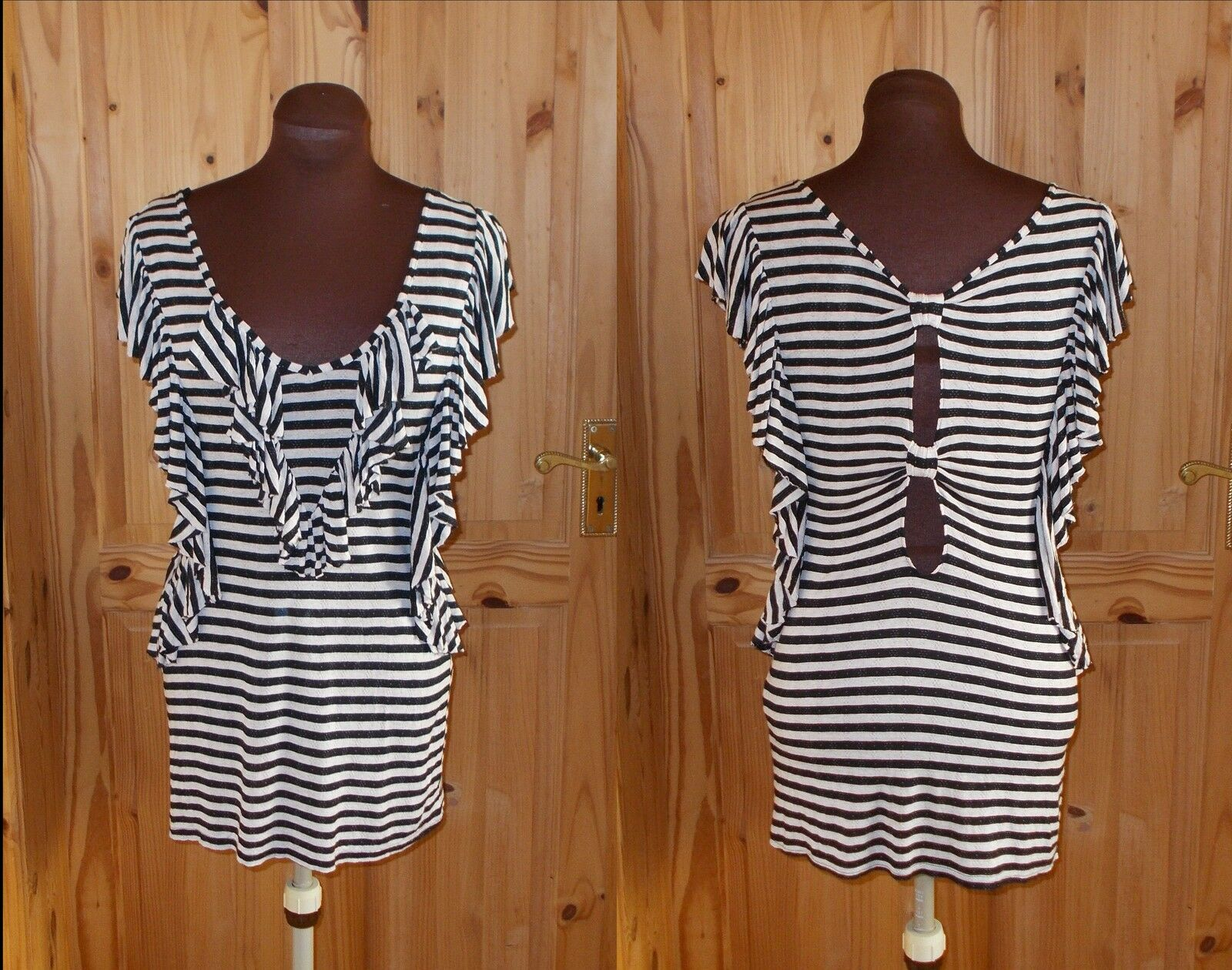 NEXT  schwarz cream stripe frill cut-out bow back Lange tunic Kleid-oben 10 38