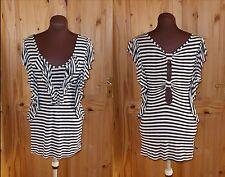 NEXT  black cream stripe frill cut-out bow back long tunic dress-top 10 38
