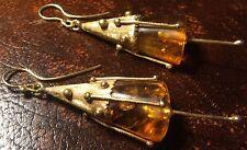 Fuchsia Flowers Solid 18ct Gold Amber 1973 Modernist Earrings 18k Hallmarked 750