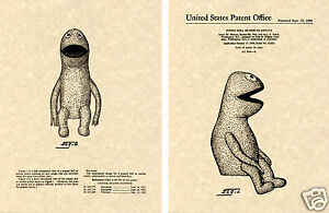 KERMIT-the-FROG-US-Patent-Art-Print-READY-TO-FRAME-1959-Henson-Muppet-Wilkins