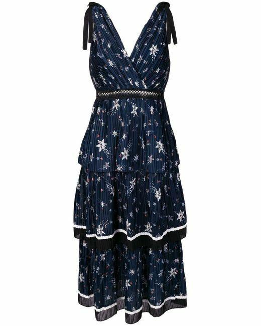 SELF-PORTRAIT Tiered star-printed midi dress UK8 US4