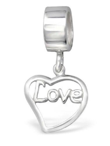 S2968 Authentique Argent Sterling pendantes Saint Valentin Amour Coeur Charme