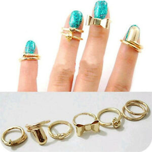 7X-Fashion-Punk-Gold-Skull-Bowknot-Heart-Nail-Simple-Middle-Finger-Top-Ring-Nice