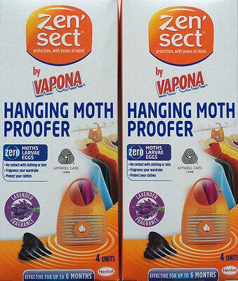 Il Prezzo Più Economico 8 X Zensect Appeso Moth Proofer Killer Tessuto Repellente Lavanda Freshener Nuovo-mostra Il Titolo Originale Originale Al 100%