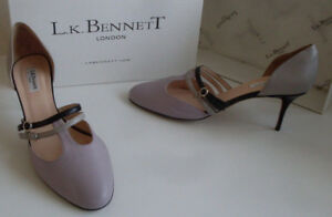 LK-BENNETT-Purple-Grey-Black-Strappy-Pump-Heels-Court-Shoes-Size-EU-41-UK-8-NEW