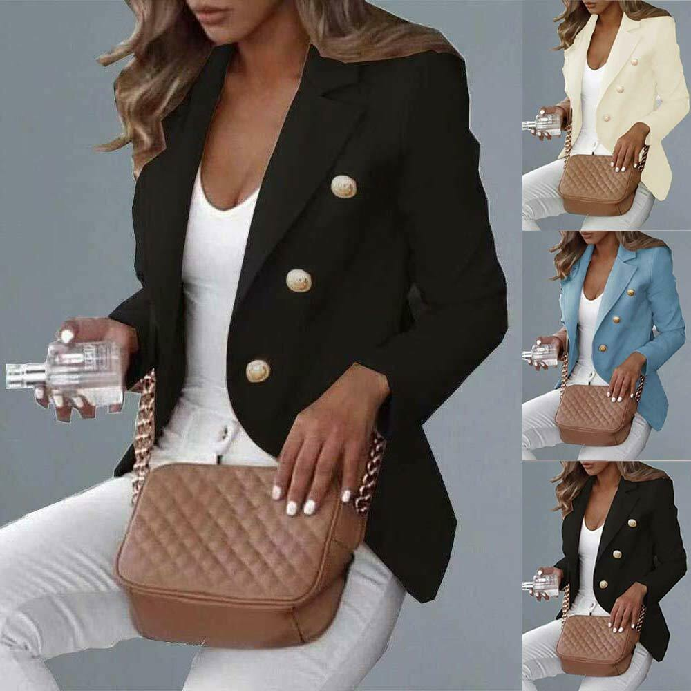 Womens Lapel Blazer Suit Double Breasted Ladies Slim OL Work Office Jacket Coat