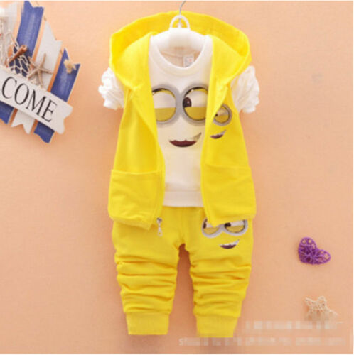 3PCS Baby Boys//Girls Minion Clothing Set Long Sleeve Shirt+Pants Vest Hoodie