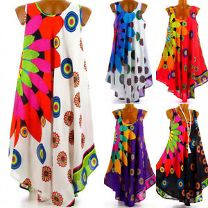 Senora-Boho-playa-vestido-de-verano-minivestido-vestido-tunica-sin-mangas-longtop-talla-34-48