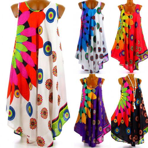 Plus Size Womens Boho Floral Sleeveless Mini Dress Summer Beach Hippie Tunic Top