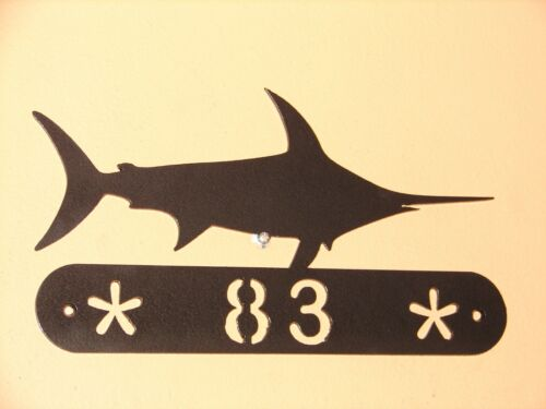 SWORDFISH METAL HOME ADDRESS SIGN  WALL DECOR HOUSE ART