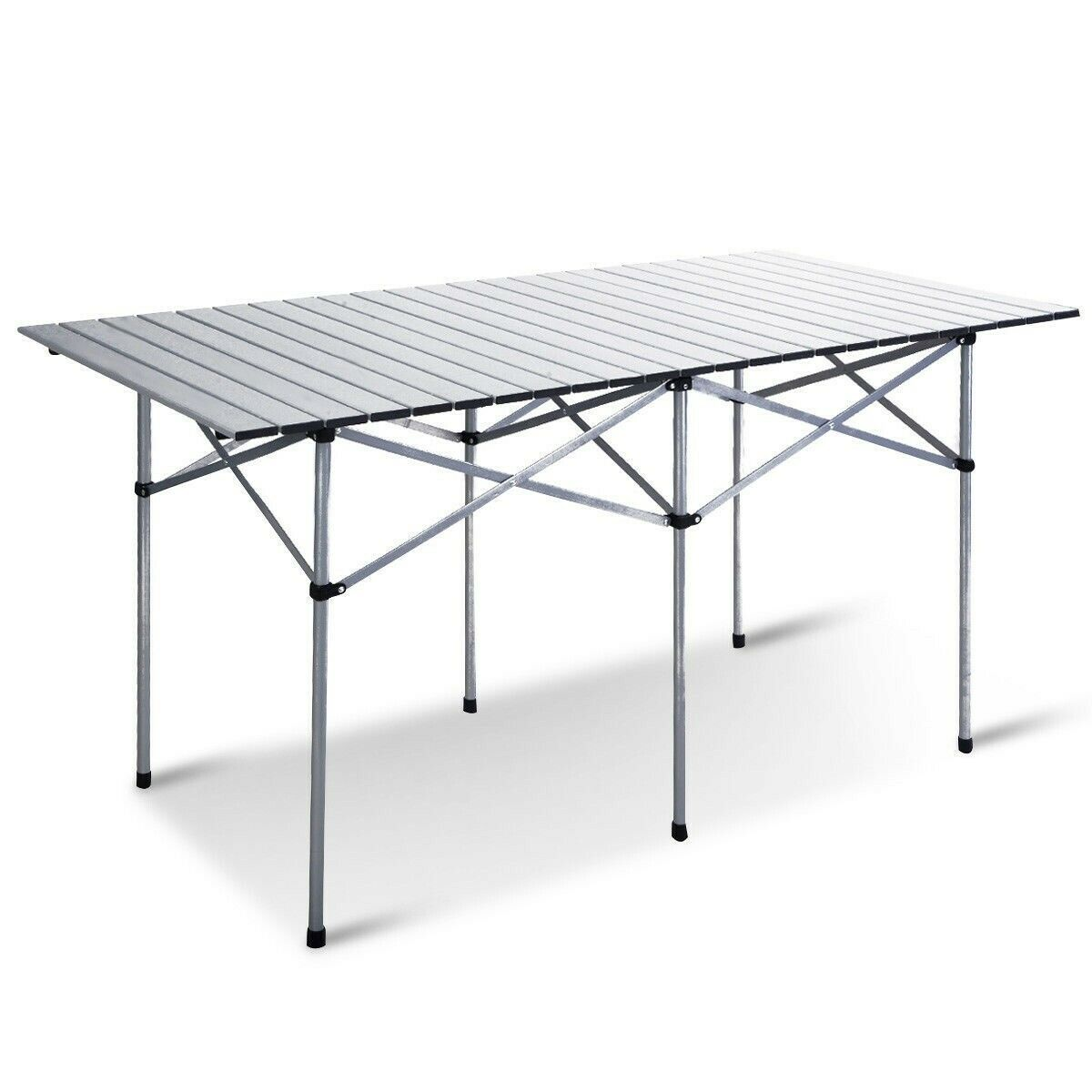 Aluminum Roll Up Top Folding Portable Camping Picnic Outdoor Rectangle Table