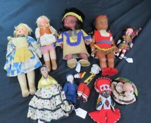 10-Assorted-Vintage-Dolls-some-handmade-rare-asian-mix-american-antique-old
