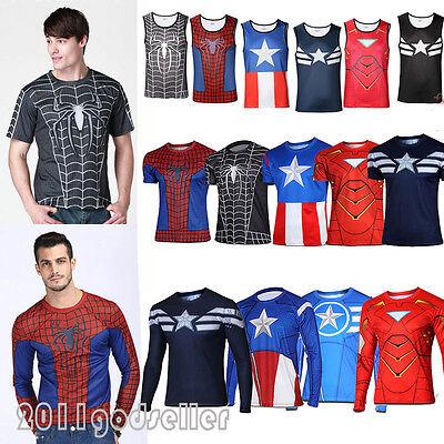 Mens Marvel Compression Running Cycling T-Shirts Tank Top Super Hero Tee Jerseys
