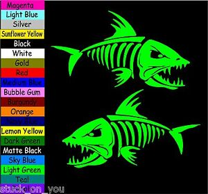 "(2) 18"" skeleton fish boat fishing kayak VINYL DECAL STICKER LAPTOP SF1"