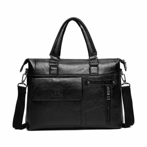 Men Briefcase Business PU Leather Shoulder Bags 13 Inch Laptop Travel Handbag