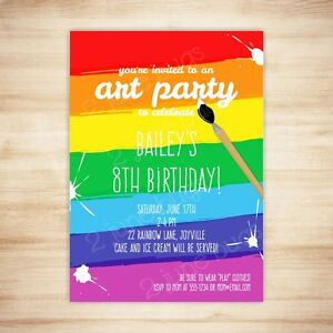 art party paint party birthday party invitation digital printable