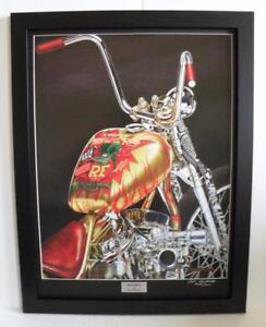 Indian Larry Rat Fink Motorcycle Art Print Framed Signed Ltd Edition by John G