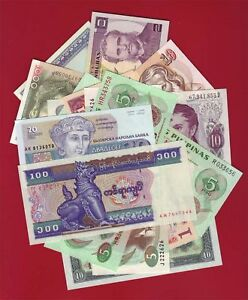 LOT-OF-14-WORLD-BANK-NOTES-BANKNOTES-11-COUNTRIES-ALL-AU-CU-CURRENCY-MONEY