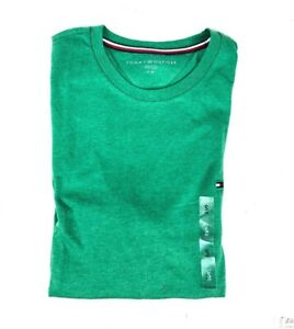 Tommy-Hilfiger-T-Shirt-Mens-Crew-Neck-Tee-Classic-Fit-Short-Sleeve-Green-Size-S