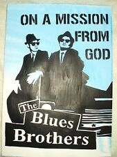 Papel Pintura Blues Brothers Mission Blue B&W Arte 16x12 pulgada de acrílico