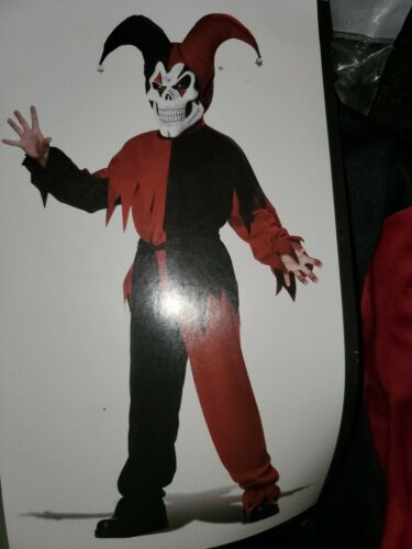 Details about  /Boys Halloween Costume Evil Jester Red Black  Size L  10-12