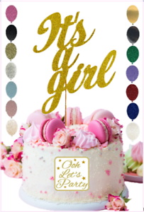 It/'s A Girl Cake Topper Personalised Wedding Gold Party Glitter