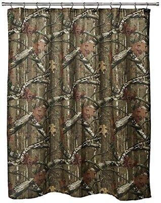 Camouflage Shower Curtain Mossy Oak Rustic Hunter Cabin Camo Bathroom Decor New