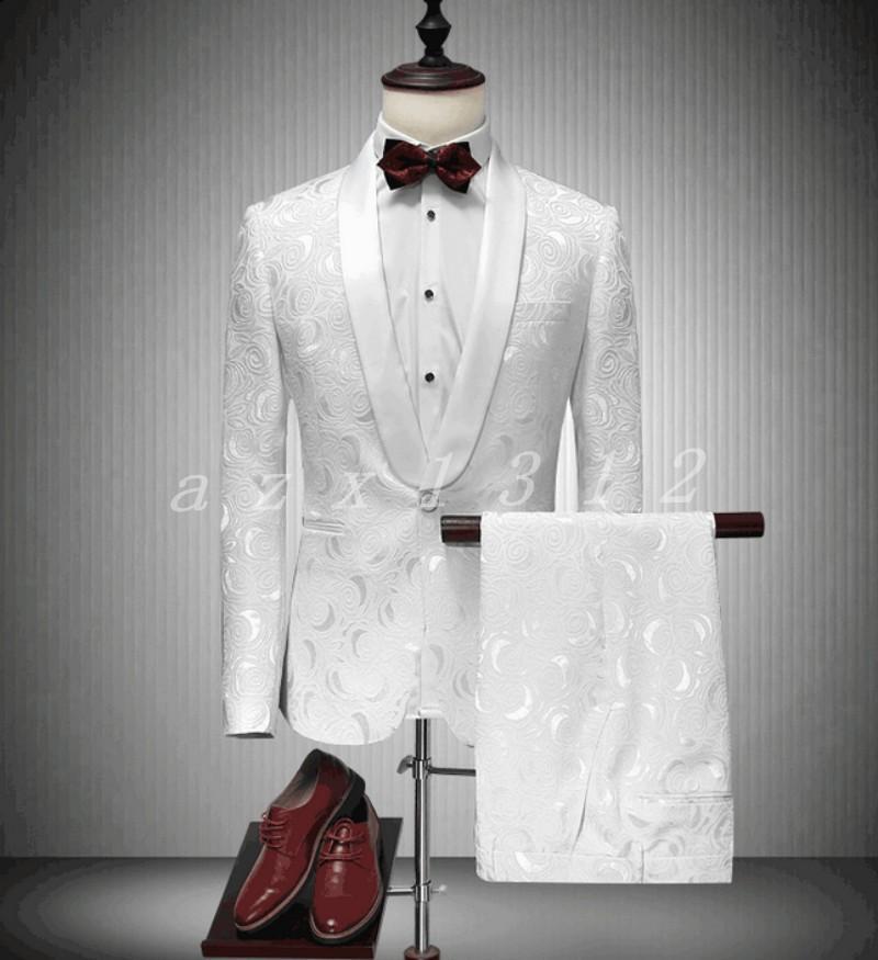 Men's Casual Embroidery White Blazer Coat Pants 2 Pcs Suits Dress Wedding White