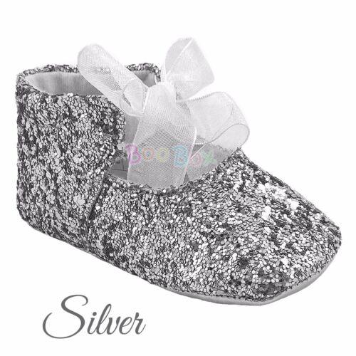 Baby Girls Spanish Glitter Party Ribbon Bow Tie Soft Sole Pram Shoe EU 16-20