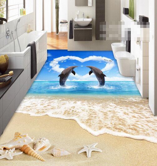 3D Dolphin Beach 421 Floor WallPaper Murals Wall Print Decal AJ WALLPAPER Carly