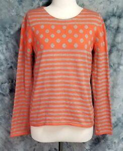 Sparrow-Anthropologie-Womens-sz-M-Gray-Orange-Stripe-Dot-Long-Sleeve-Sweater