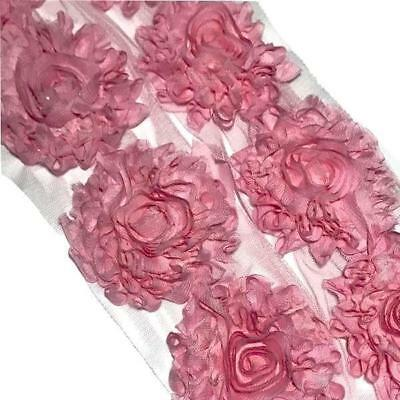 "1 yard hot pink peacock 2.5/"" shabby chiffon rose trim fabric flower DIY headband"