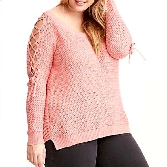 Torrid Women's Lace Up Sleeve Sweater Pink Cotton Blend Size 5 Plus-NEW
