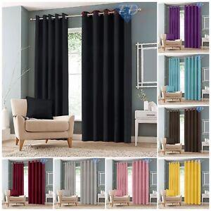 Cortinas-color-negro-apagon-termica-de-Lujo-Ojal-Anillo-Top-Par-Cortina-con-amarre-para