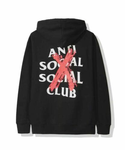 Anti Social Social Club ASSC Cancelled Black Hoodie Hoody  Red//Pink Cross