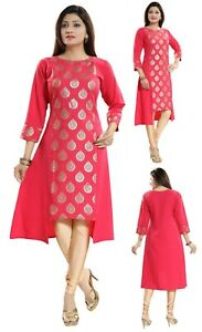 Women-Indian-Printed-Pink-3-4-Sleeves-Kurti-Tunic-Top-Kurta-Shirt-Dress-SC2301