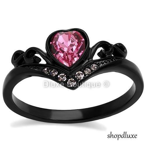 Women's Round Cut Pink CZ Black Stainless Steel Heart Fashion Ring Size 5-10