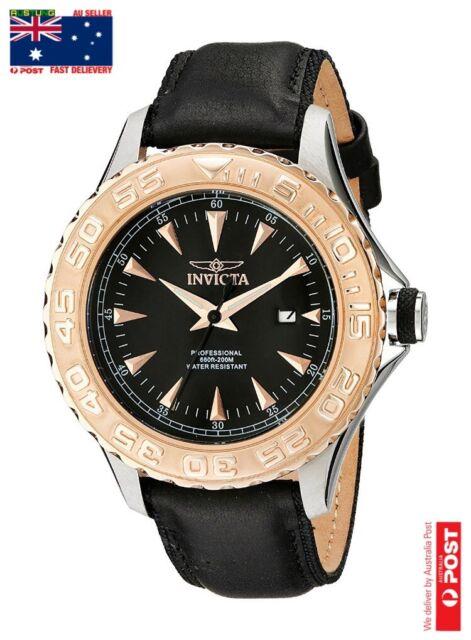Invicta Men's Pro Diver 12617 Black Dial Analog Quartz Leather Strap Watch