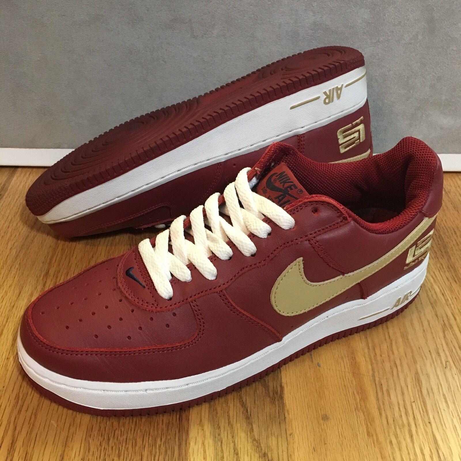 2003 Nike Air Force 1 Low Lebron James Varsity Crimson Gold Men's Shoes Size 8.5