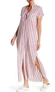 782aa20290e56 Beach Onia Kim Lightweight Button Front Woven Cover-up Striped Maxi ...