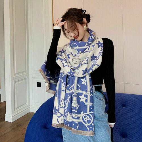Winter Warm Long Scarf Imitate Cashmere Shawl Star /& Flower Kerchief 190x65cm
