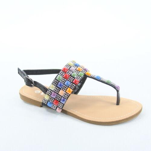 Fille/'S Noir Argent Multi Color Jeweled T-Strap Sandales Plates Taille 9-4 BR