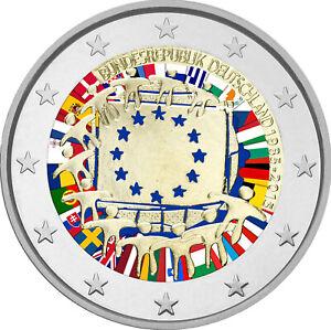 2-Euro-Gedenkmuenze-BRD-2015-Europaflagge-Flagge-coloriert-Farbe-Farbmuenze