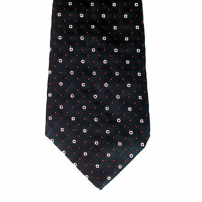 Vintage Tootal tie Polka dots Polyester 1960s mens wear Black red white pattern